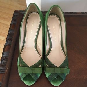 Zara Kelly green peep toe heels